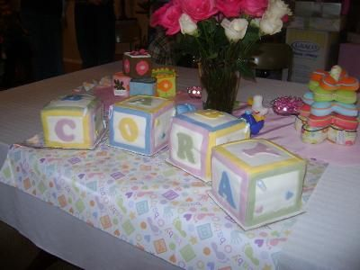 this was a simple baby blocks cake i just made cube shaped cakes and ...