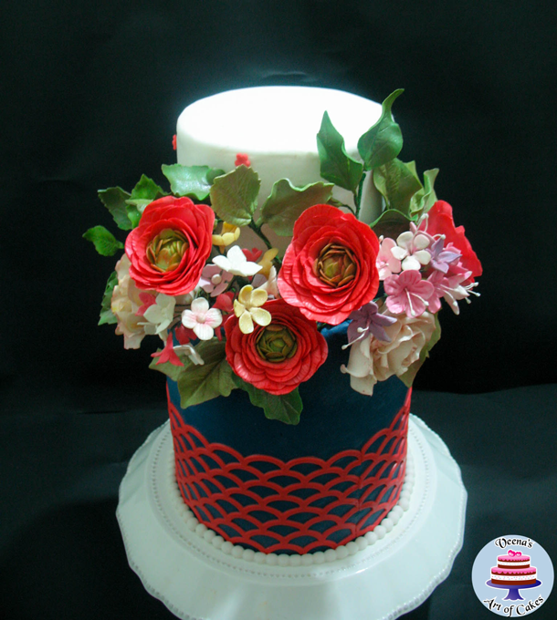 black and red floral cake