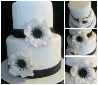 black and white anemone cake