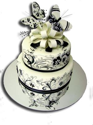 modern black and white wedding cake