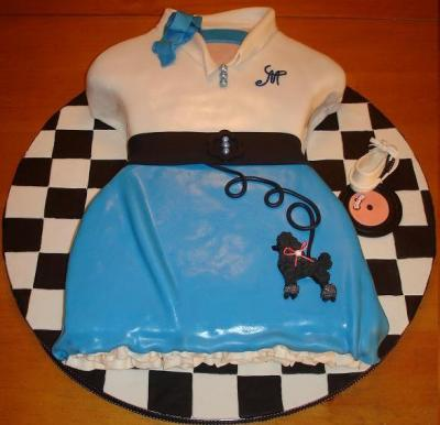 1950s little girl poodle skirt cake
