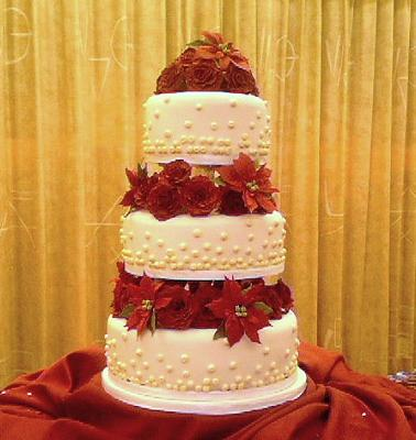 3 tier rose and pearl wedding cake