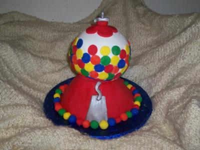 red gumball machine cake