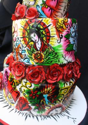 side of tattoo cake