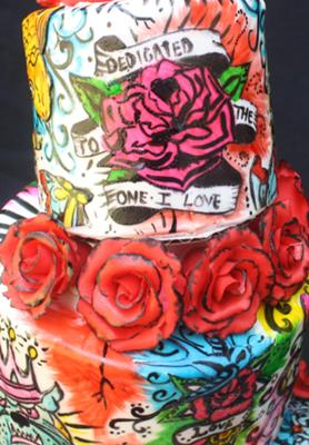 red tattoo cake roses