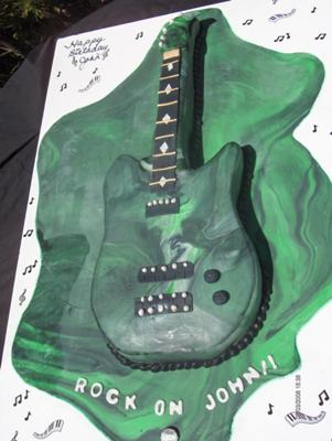 camouflage guitar cake