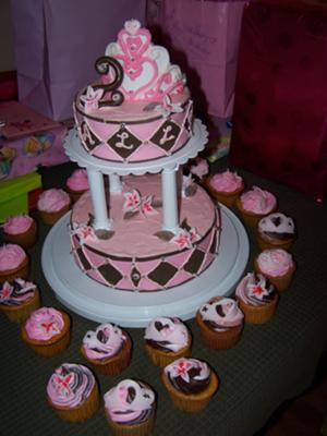 pink/brown princess cake