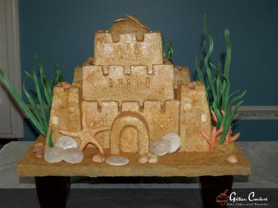sand castle fantasy wedding cake