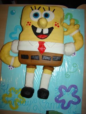 waving spongebob cake
