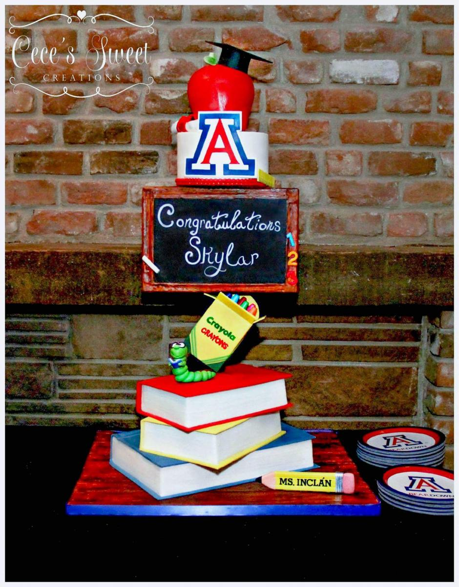 books graduation cake