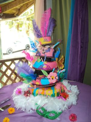 colorful topsy turvy cake