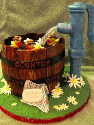 country baby bath cake