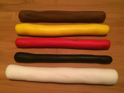 colored fondant rolled into sausages