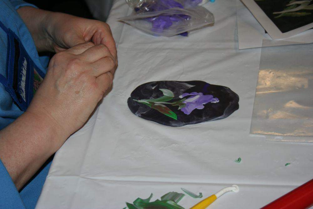 colette peters demonstrating inlay technique