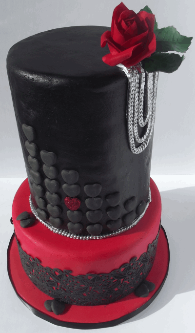 black leather cake