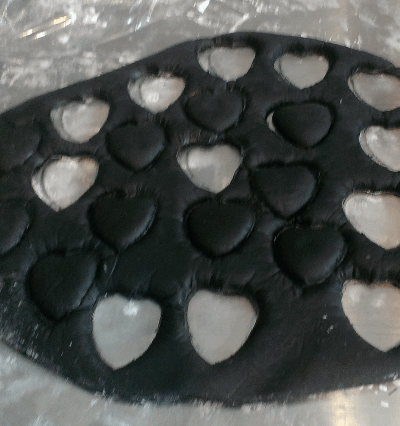 leather fondant hearts