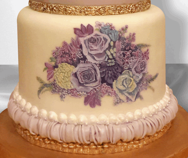 Cake Decorating Gold Paint : Painted Floral Swag Cake http://www.cake-decorating ...