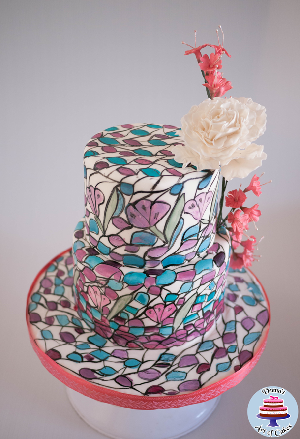 painted mosaic cake