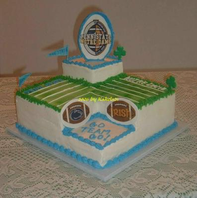 tri-level Pen State football field cake