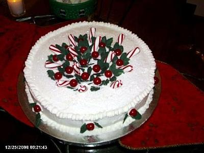 peppermint stick and holly cake
