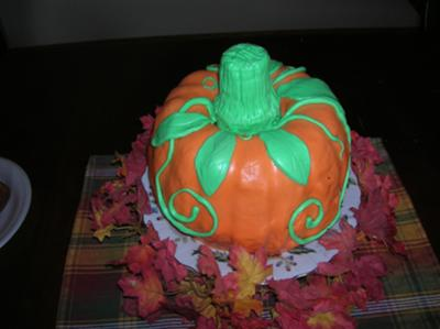 top view of pumpkin cake