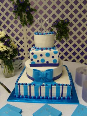 Purple And Wedding Dots Stripes Cake