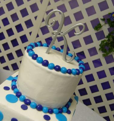 Close Up Of Purple And Turquoise Wedding Cake