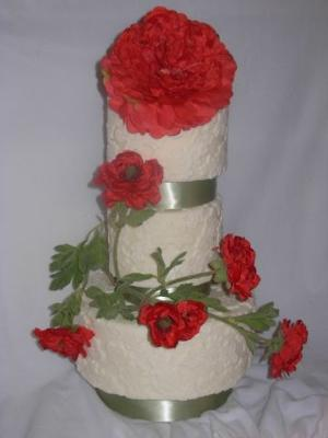 red and white lace wedding cake