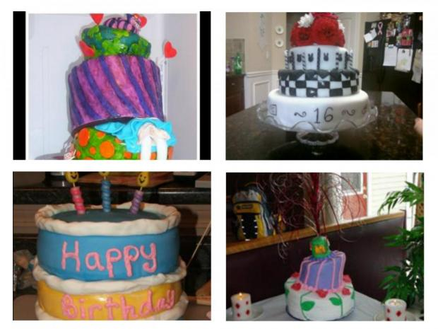 collection of alice in wonderland cakes