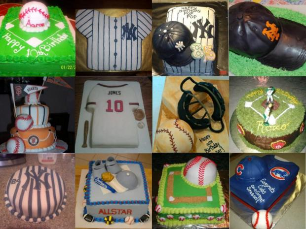 collection of baseball cakes