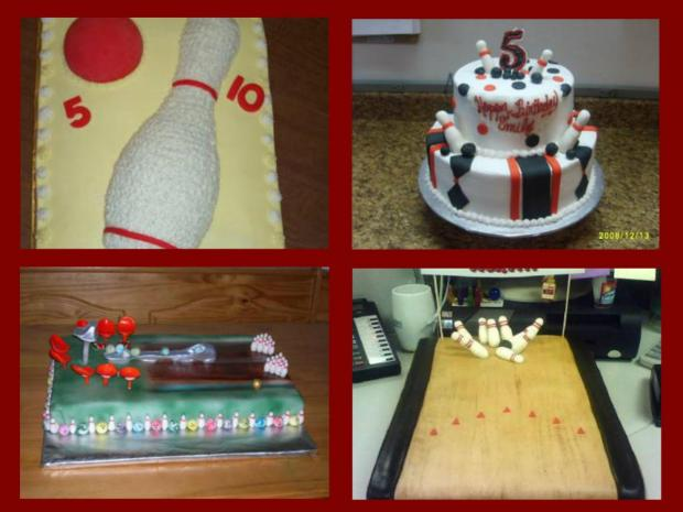 a collection of bowling cakes