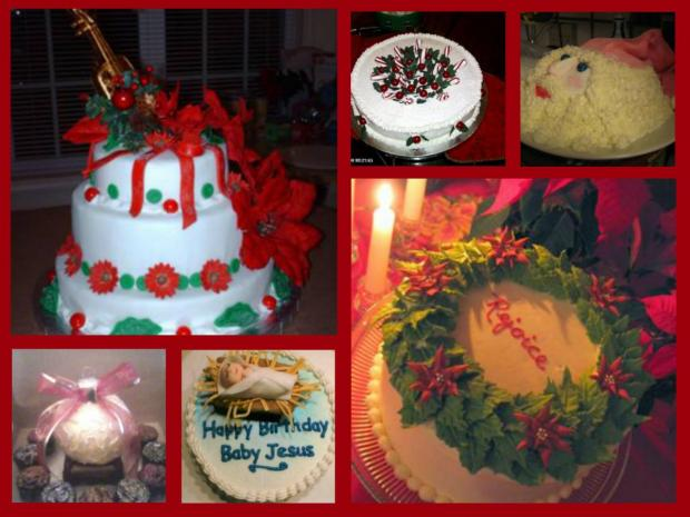 collection of christmas cakes