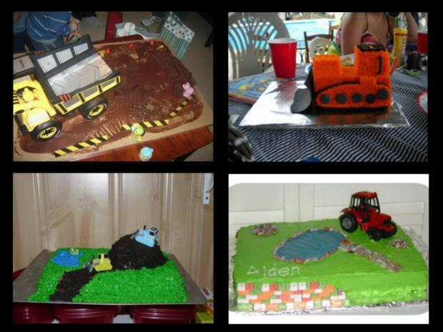 different construction vehicle cakes