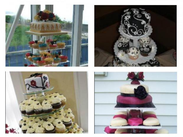 collection of cupcake wedding cakes