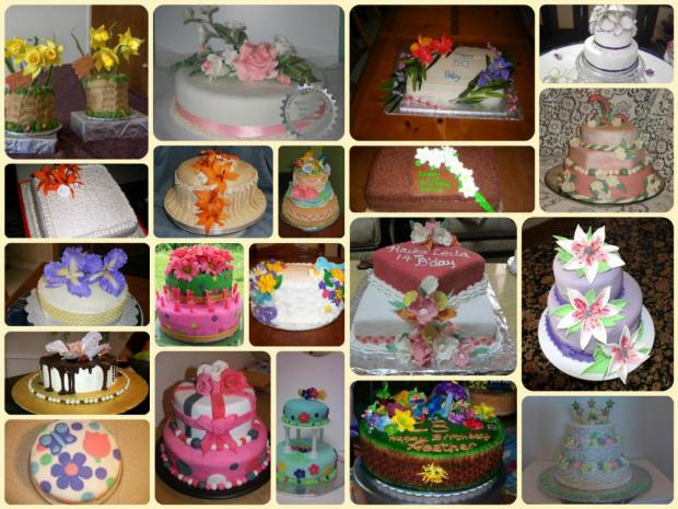 collection of 20 different flower cakes