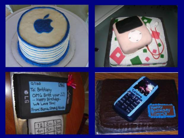 gadget cakes - iPod, Mac, cell phone