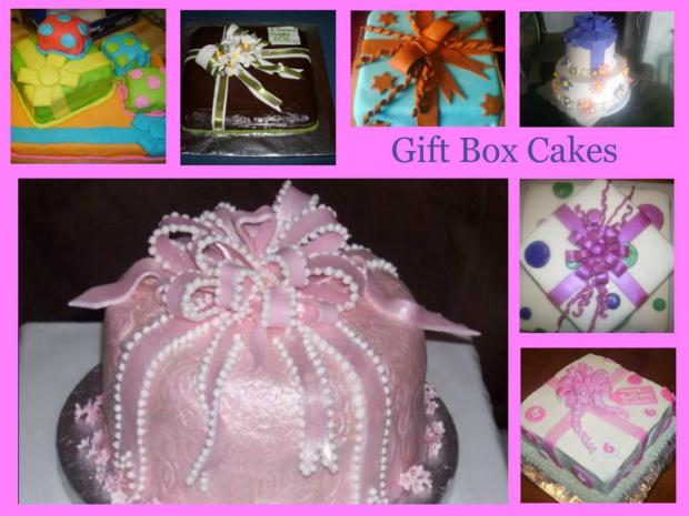 gift package cakes and gift box cakes