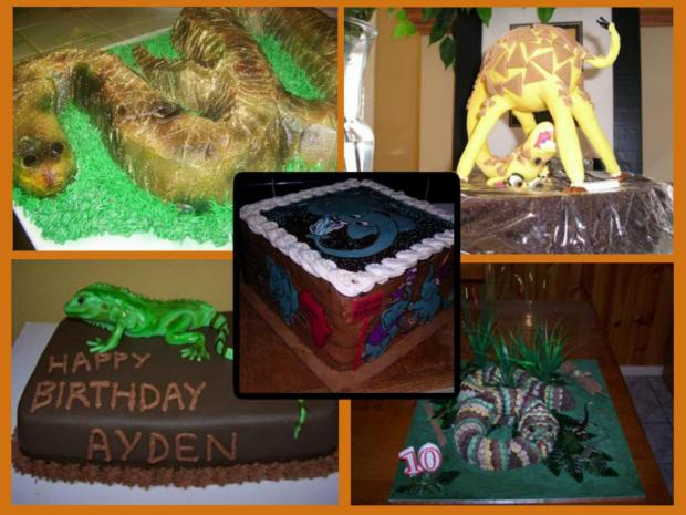 collection of jungle animal cakes