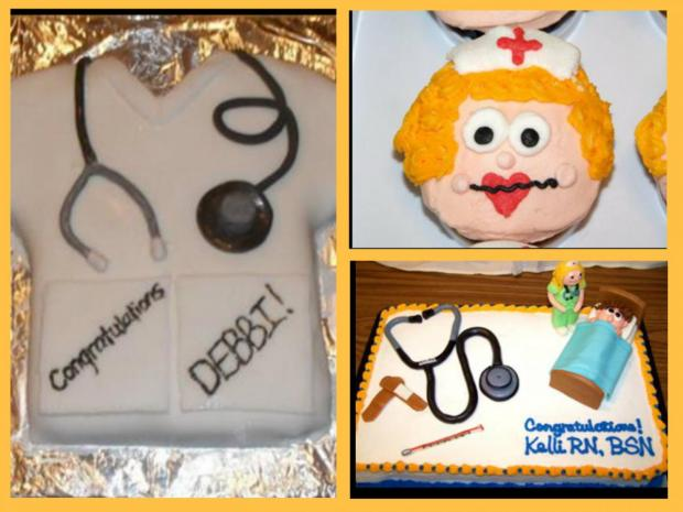 collection of nurses graduation cakes