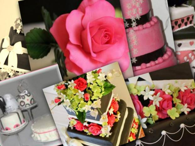 pink and black wedding cakes