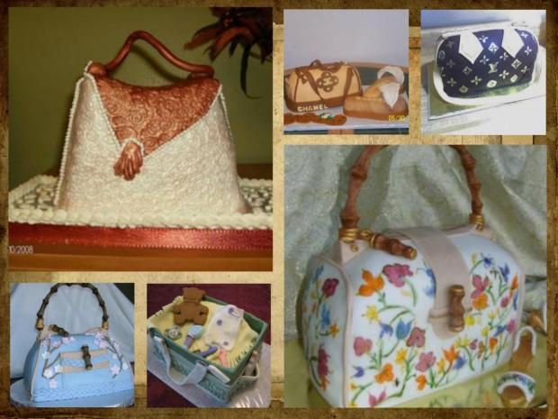 A collection of beautiful purse cakes