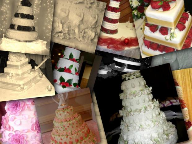 collection of rose wedding cakes