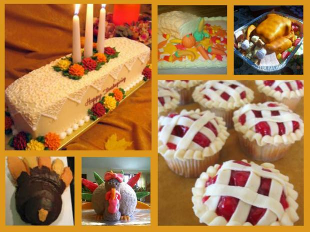 collection of thanksgiving cakes
