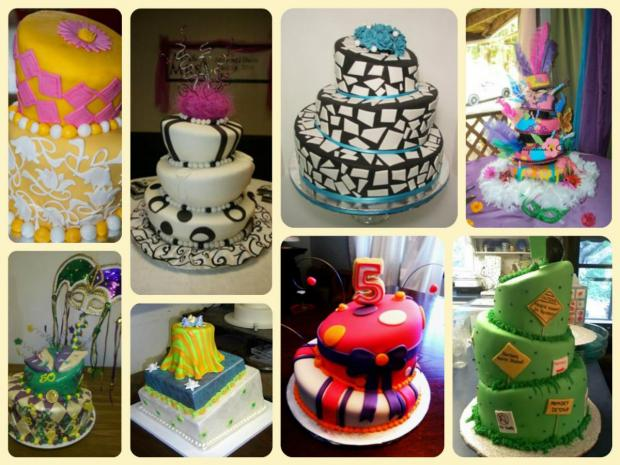 collection of topsy turvy cakes