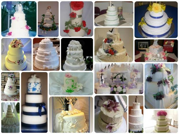 collection of white wedding cakes