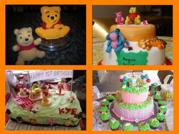 collection of 5 winnie the pooh bear cakes plus eeyore
