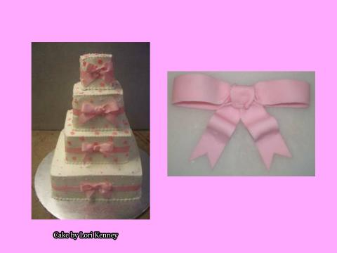 fondant bow and cake with bows