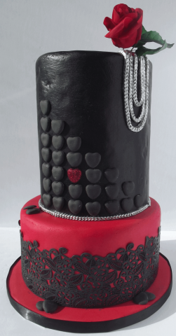 leather and lace valentine cake