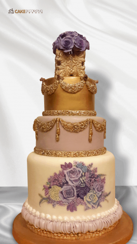 Painted Floral Swag Cake Http Www Cake Decorating