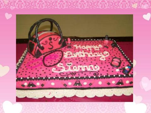 purse and make-up cake